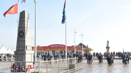 The turnout at the unofficial remembrance event at Lowestoft war memorial on the morning of Sunday,