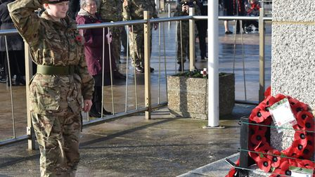Tributes paid at the unofficial remembrance event at Lowestoft war memorial on the morning of Sunday