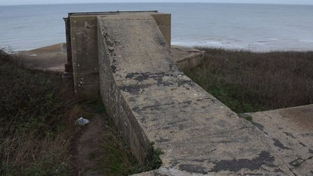 The concrete base remains of the Mundesley Coastal Gun Battery. Picture: DENISE BRADLEY