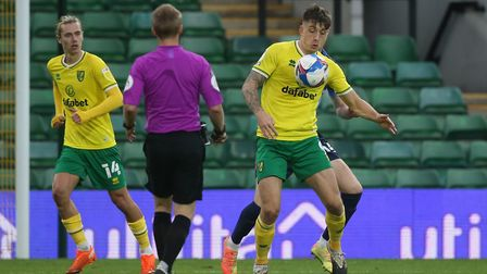 Jordan Hugill of Norwich in action during the Sky Bet Championship match at Carrow Road, Norwich