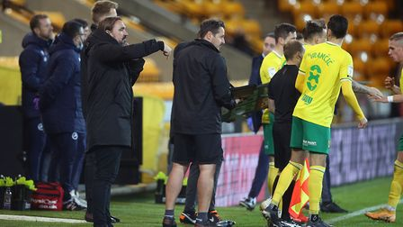 Norwich Head Coach Daniel Farke gives instructions to his team as he makes a triple substitution dur