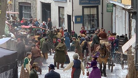 Snowball fight during filming of Jingle Jangle in Elm Hill Credit: James Randle