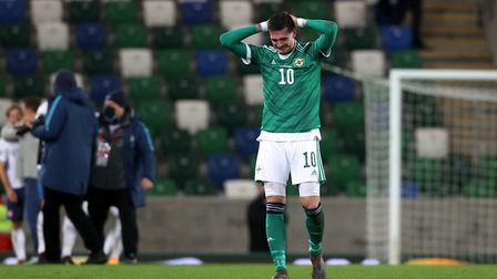 A distraught Kyle Lafferty reacts after the match in Belfast on Thursday Picture: PA