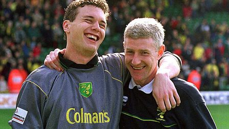 Andy Marshall and Nigel Worthington during Norwich City's lap of honour after their last home match