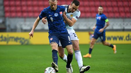 Former Norwich City loan player Ondrej Duda in action for Slovakia against Scotland Picture: PA