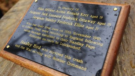 The memorial plaque for the crew of the Handley Page Hampden bomber, which crashed in Northrepps woo