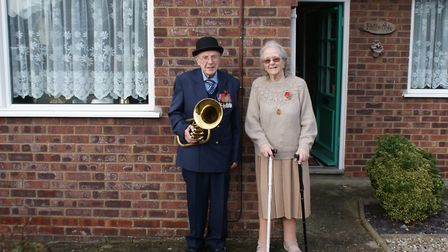 Ted and Jean Briggs in front of their house near Northrepps in north Norfolk. On Armistice Day, Mr B