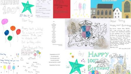 Cards, messages and poems from pupils to mark the 100th birthday of the school's oldest living Old N