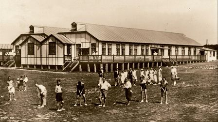 Some of the first holidaymakers to stay at the Mundesley Holiday Camp, practicing their golf skills
