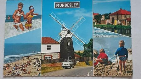 An old postcard showing holiday scenes from Mundesley, when the Mundesley Holiday Camp was in its he