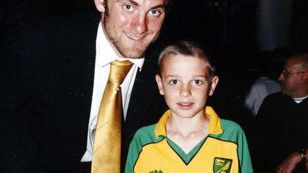 A young Angus Gunn with former Norwich City number one Robert Green Picture: Angie Kennedy