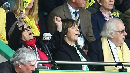 Delia Smith's mother, Etty, left, has passed away. Pictured here supporting Norwich City during a cr