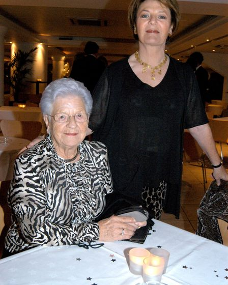 Delia Smith and her mother Etty at Craig Fleming's testimonial party at The Gunn Club, Norwich City
