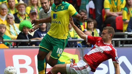 Ben Gibson on the opposite side for Middlesbrough against Norwich City in the play-off final in 2015