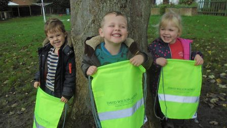 Pupils at Fairview Kindergarten in Horsford with new kt bags for Road Safety Week. Picture: David Wi