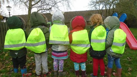 Pupils at Fairview Kindergarten in Horsford showcasing their new kt bags for Road Safety Week. Pictu