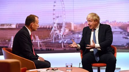 Andrew Marr (left) and Foreign Secretary Boris Johnson during filming for The Andrew Marr Show. Pho
