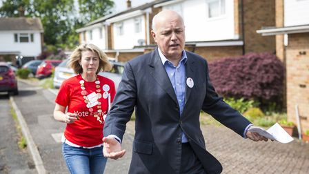 Former Work and Pensions Secretary Iain Duncan Smith canvassing on behalf of Vote Leave. (Photo by J