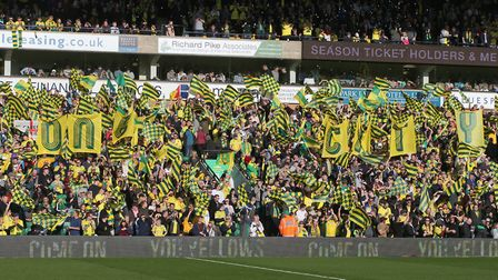 The Barclay Stand is a sea of yellow and green before the game against Bristol City Picture: Paul Ch