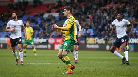 Kenny McLean became the latest victim of Norwich City's penalty curse at Bolton. Picture: Paul Chest