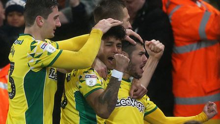Emi Buendia celebrates after scoring the only goal of the game for Norwich City against Swansea at C