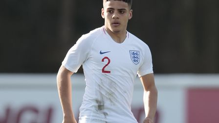 Norwich City right-back Max Aarons in action for the England U19s against Czech Republic U19s at St