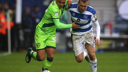 Max Aarons on the attack at Loftus Road in Norwich City's early season win Picture: Paul Chesterton