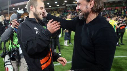 Smiles all around as Teemu Pukki celebrate epes with head coach Daniel Farke. Picture: Paul Chester