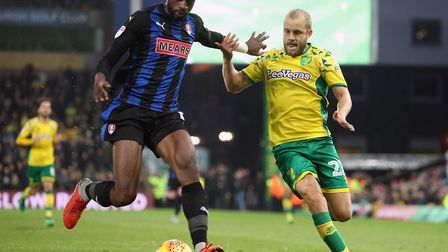 Semi Ajayi, left, in action against Norwich City at Carrow Road earlier this season Picture: Paul C