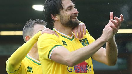 Russell Martin celebrates scoring during the Team Russ v Team Wes charity game at Carrow Road Pictu