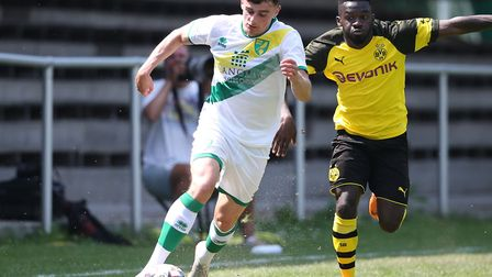 Simon Power in action for Norwich City during a 6-0 thrashing of a young Borussia Dortmund U23 squad
