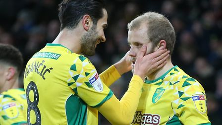 Norwich City stars Mario Vrancic, left, and Teemu Pukki will be on opposing sides when Finland face