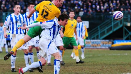 Gary Doherty scores Norwich City's late winner over Brighton at the Withdean Stadium back in 2010. P
