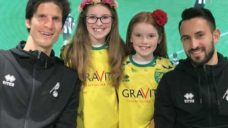 Sisters Millie Seely, 10 and Olivia Seely, 8 meeting Timm Klose and Lukas Rupp at the Norwich City F