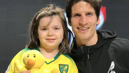 Canaries fan Erin-Rose Craynor met City star Timm Klose at a half-term signing session at the Fan Hu