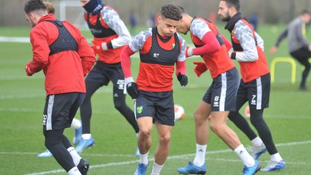 Max Aarons in training at Colney ahead of Norwich City's home clash with Leicester Picture: Tony Thr