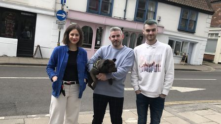 Abbi Evans, Luna the dog, Mikey Smith and John Brennan in front of the three new independent shops i
