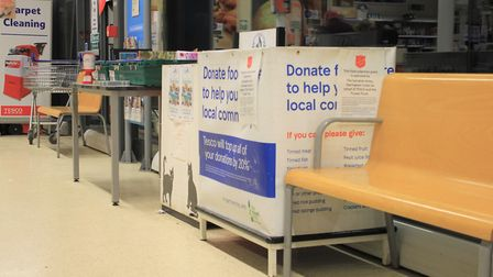 Tesco Sheringham food bank donation basket, from which people have been seen taking pasta and toilet