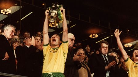 Dave Watson holds the Milk Cup aloft at Wembley Picturre: Archant