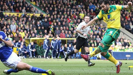 Rocket man Bradley Johnson opens the scoring in a 2-0 win in March 2015 Picture: Paul Chesterton/Foc