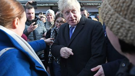 Boris Johnson during a walkabout at a Christmas Market in Salisbury. Photograph: Stefan Rousseau/PA