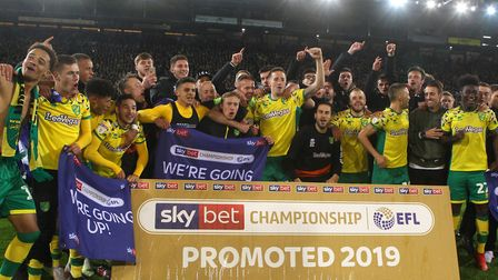 Norwich City savour the feeling after sealing promotion against Blackbrun Picture: Paul Chesterton/