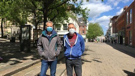 Mark Humphries (left) and Matthew Chambers in Norwich city centre on Satirday, May 16, 2020, a week