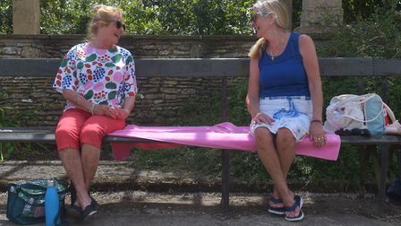 Wendy Howe left and Sue Lawrence at Waterloo Park after lock down restrictions altered. Pictures: B