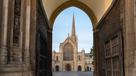 West front of Norwich Cathedral seen through the Erpingham Gate. Photograph: Norwich Cathedral/Bill