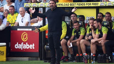 Norwich Manager Daniel Farke reacts during the Premier League match at Carrow Road, Norwich Picture