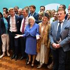 Brexit Party leader Nigel Farage with the Brexit party MEPs. Photograph: Dominic Lipinski/PA.