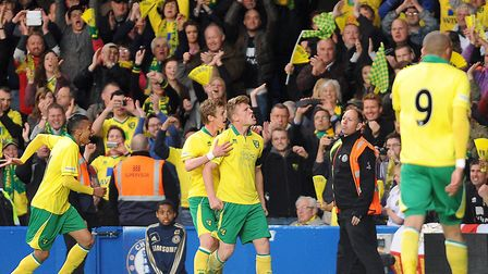 Cameron McGeehan celebrated in front of 3,000 Norwich fans at Stamford Bridge as he scored his secon