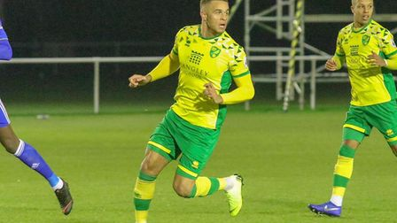 Carlton Morris in action for Norwich City U23s against Leicester at Colney in January 2019 Picture:
