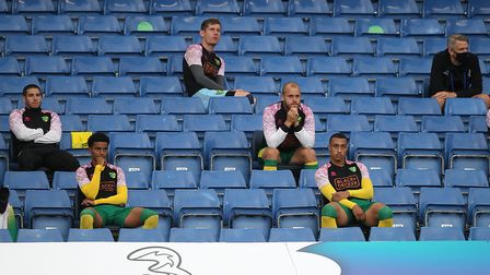 """The Norwich subs 'bench"""" at Stamford Bridge. Picture: Paul Chesterton/Focus Images Ltd"""